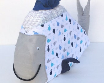 Nautical diaper whale, nautical diaper cake, ahoy its a boy, under the sea, diaper cake, diaper whale, baby shower centerpiece, baby gift