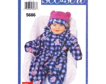 Baby Hooded Bunting & Hat Pattern Butterick 5686 Zipper Front Boys Girls Infant Size L XL Sewing Pattern Uncut