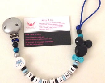 Personalized pacifier mickey bow tie blue black silver
