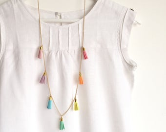 PASTEL RAINBOW Tassel Necklace - Colourful Long Necklace with 7 Tassels