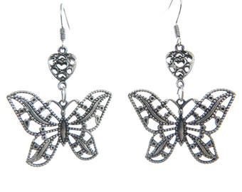 Earrings silver lightweight romantic filigree heart and Butterfly