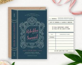 Library Wedding Invitation Printable / Story Book Wedding Suite / Book Themed Wedding / Vintage Rustic Printable Wedding Invitation Download
