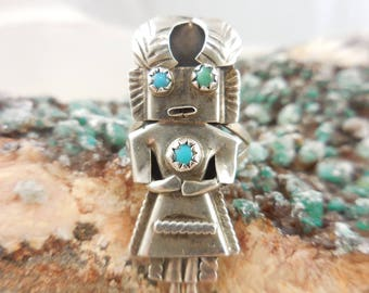 Native American Orville Manygoat Kachina Sterling Silver and Turquoise  Ring