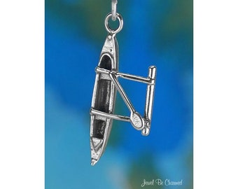 Sterling Silver Outrigger Canoe Charm Boat Hawaii Tahiti 3D Solid .925