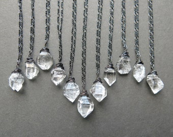 Herkimer Diamond Necklace - Raw Crystal Necklace - Raw Stone Necklace - Raw Gemstone Necklace - Boho Crystal Pendant - Bohemian Jewelry