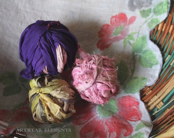 Recycled Sari Silk Remnants, Sewing Supplies, Doll Supplies, Jewelry Crafts, Embellishing, Textile Art, Weaving, Fabric, ArtWear Elements®