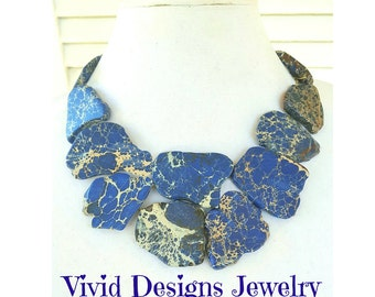 Sapphire Blue Turquoise Statement Necklace - Sapphire Blue Bib Jewelry - Stone Statement Necklace