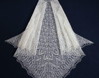White lace knitted mohair shawl hand knit shawl white shawl, knit scarf, triangular scarf,  openwork scarf, knit lace shawl, wedding shawl