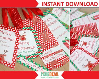 Christmas Gift Tags - Personalized Christmas Tags - Editable Christmas Labels - Holiday Tags Printable - Gift Tags Kids (Instant Download)