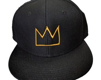 Basquiat Crown Embroidered Wool-Blend Flat Bill Structured Hat/Cap