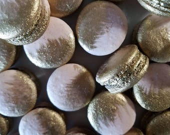12 Rose pink gold brushed French macarons-gold splash,gold splatter,baby shower,wedding favor,baptism,bridal shower,macaroons,mermaid,easter