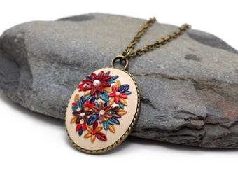 Colorful flower pendant, long beige necklace, delicate necklace, elegant vintage necklace, anniversary gifts for women, mothers day gift