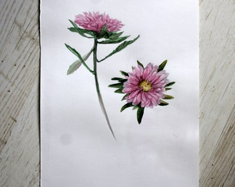 Original flower aster watercolor painting Floral Watercolor Painting Botanical illustration watercolor Home decor painting Art Flower paint