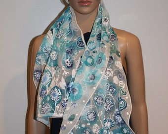 75-15 in hand painted scarf,Summer silk scarf,White blue dandelion,Blowball, floral scarf, gift for her,Summer gift,Head cover
