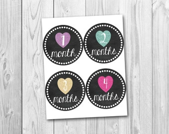 Printable monthly onesie stickers, chalkboard stickers, baby's first year, photo prop stickers, monthly pregnancy stickers