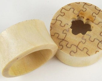 "SALE Crocodile  Wood Puzzle Plugs (Pair) 8mm (0G) 14mm (9/16"") 16mm (5/8"") 19mm (13/16"") 22mm (7/8) 25mm (1"")"