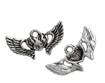 Winged Heart Antique Silver Pendant, 24 mm x 13 mm, Pack of 10  (182-2018)