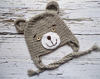 Crochet teddy bear Hat, Newborn bear hat, Baby teddy bear hat, Beige teddy bear hat