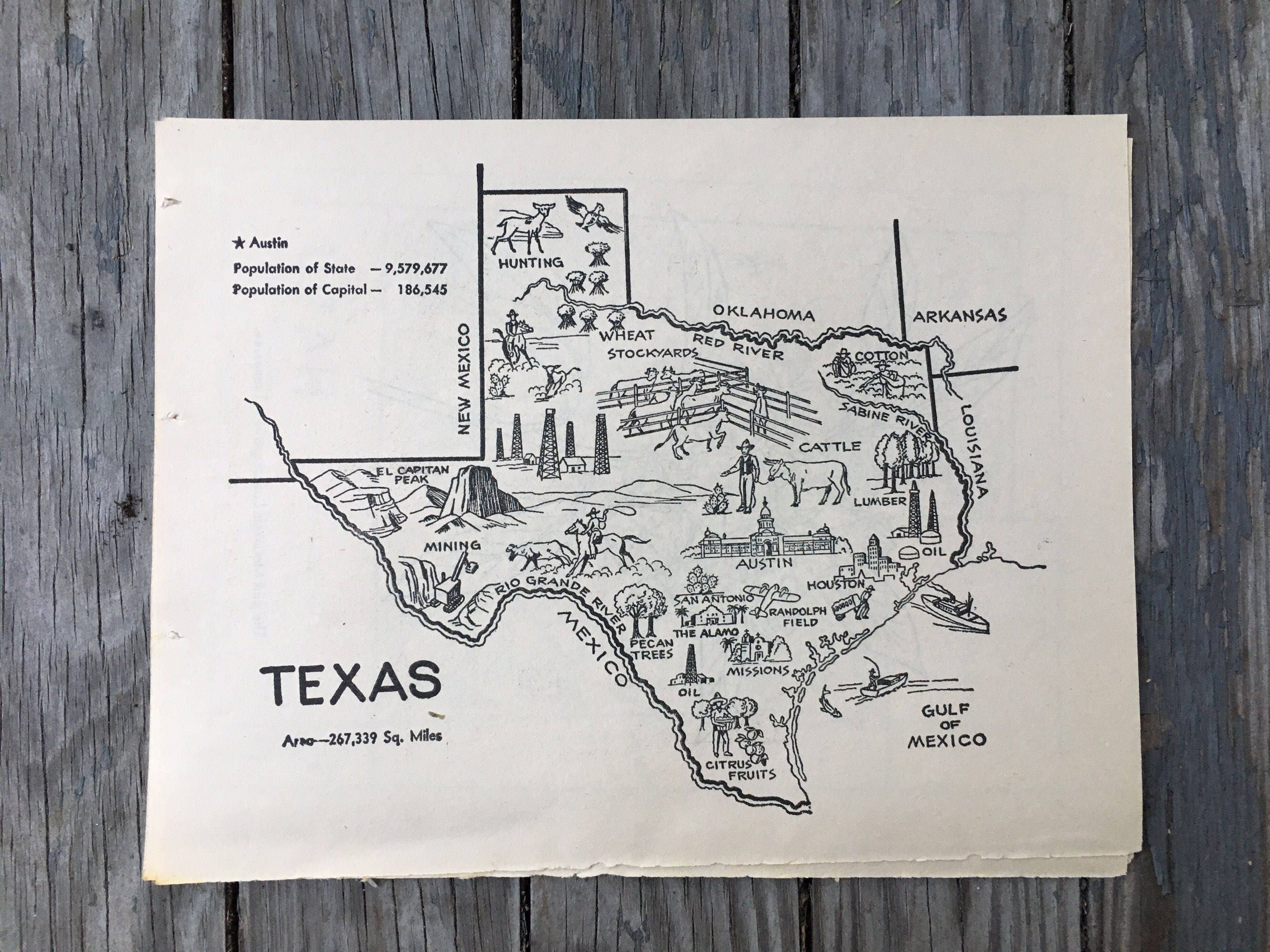 Texas Map Print Vintage Map Art 1950s State Wall Decor TX