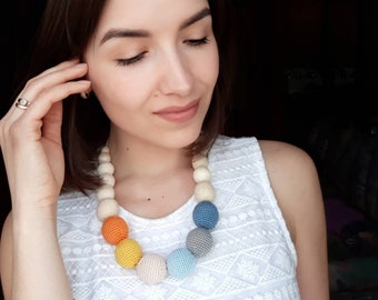 Sling nursing necklace Breastfeeding  Rainbow necklace Teething necklace Babywearing jewelry Crochet jewelry Natural mother day gift