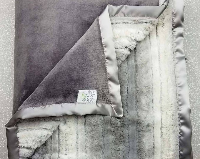 Minky Blanket, Raya Platinum, neutral throw, faux fur soft luxurious throw, Grey and white, Plush Minky, Adult minky Blanket Decor, Silver