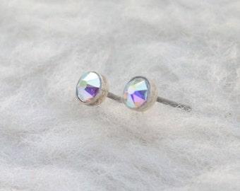 Swarovski Aurora Borealis Crystal (4mm / 5mm) Bezel Set on Niobium / Titanium Posts (Hypoallergenic and Nickel Free Stud Earrings)