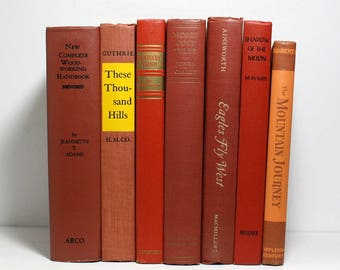 Vintage Books, Set of 7 Decorative Hardcover Books, Shades of Brown and Rust, Published 1933 to 1978, Interior Design, Home and Office Decor