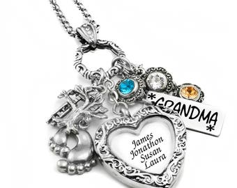 Mothers Necklace, Birthstone Necklace, Mother's Day Necklace, Mothers, Grandma and Nana Locket