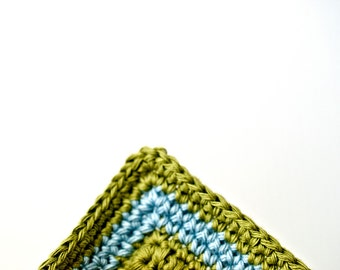 hand crocheted potholders in soft cool colours  The Light Blue Line // pot holders / ORGANIC cotton / olive green / powder blue / baby blue