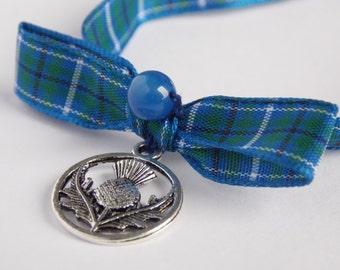 Thistle Charm Douglas Tartan Bracelet, Scottish Gifts