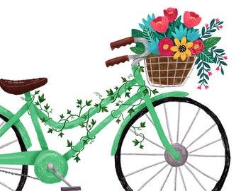 Art Print 5x7 Vintage Bicycle with Flowers