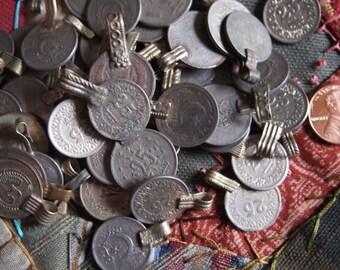 10 Pcs Afghan-Pakastani Silver Coins with Hanging Loop Pendants
