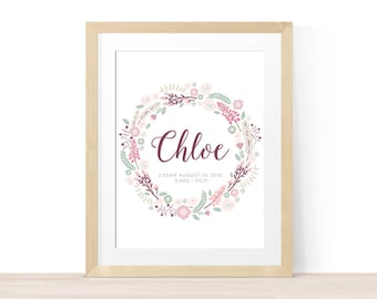 Birth Announcement Wall Poster