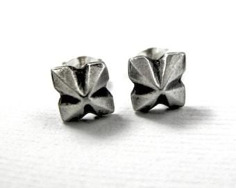 Pyramid Earrings - Stud Earrings - Sterling Silver Post - Gothic Geometric Pinwheel - Mens Unisex
