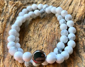 Stretch Bracelet White Turquoise Small