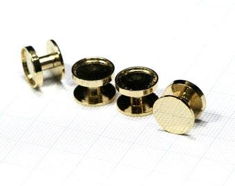 Shirt Collar Tuxedo Stud, 4 pcs  12 x 8 mm 10 mm setting cufflink gold plated Brass Studs,  1697