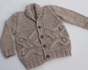 Hand Knit Baby Boy Cardigan. Baby Boy Cabled Cardigan. Brown Cardigan. Baby Boy Wool Cardigan.