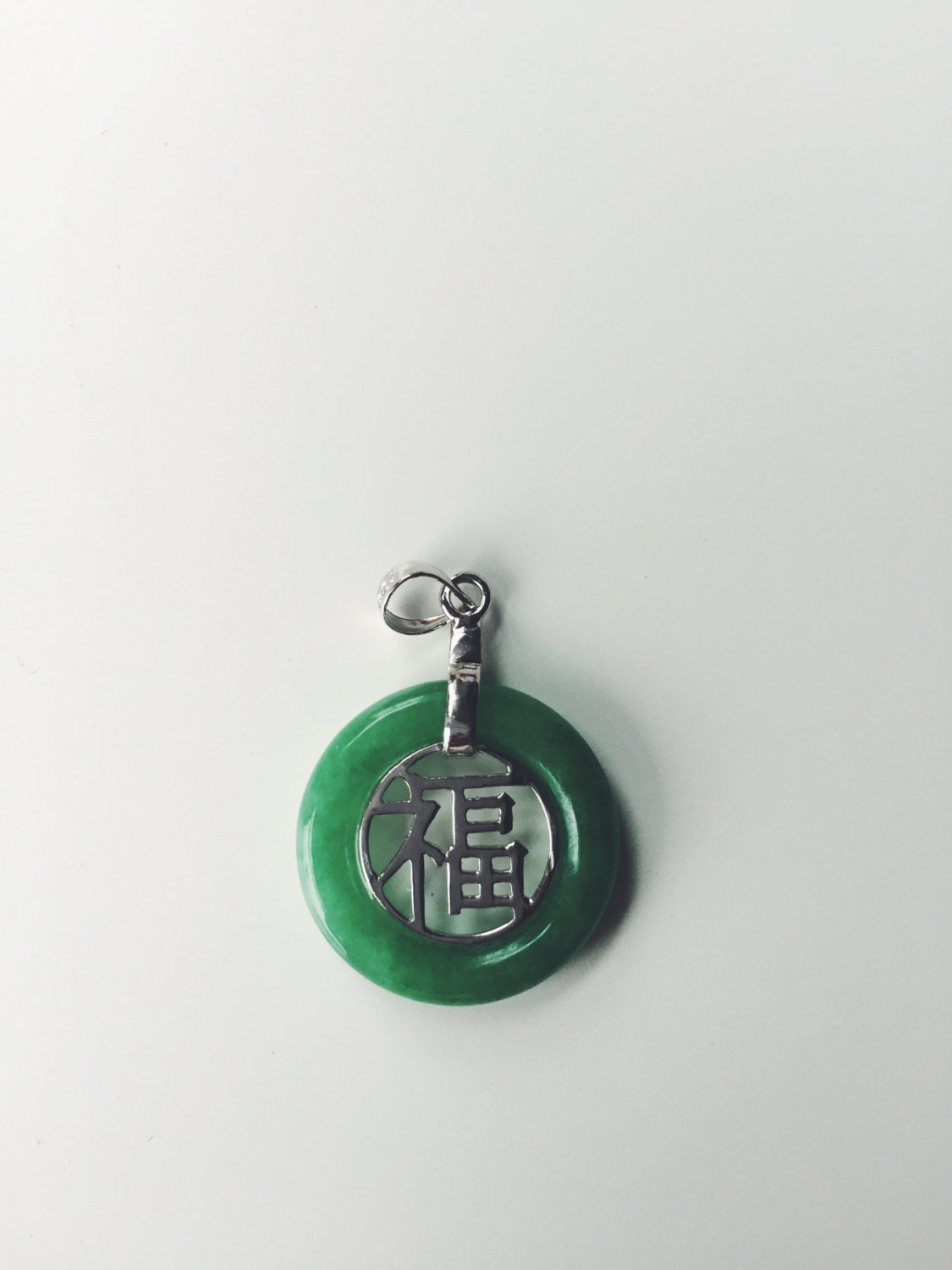 Hollow jade pendant with silver chinese character fu zoom buycottarizona