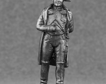 Pewter Sculpture Napoleon Bonaparte French Emperor 1/32 Scale Handmade Toy Soldier 54mm Metal Miniature Action Figurine Statuette