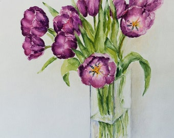Watercolor flowers, Tulips paintings, Wedding gift art, Original Watercolor Painting, Art bride gift, still life, Watercolor Tulips, Art