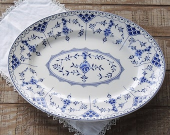 "Ridgways Blue Danish 16"" Oval Platter Ridgway Blue White Large Meat Platter English Ironstone"