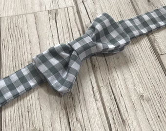 Gingham Bow Tie - Boys Grey Bow Tie - Toddler Bow Tie - Newborn Bow Tie - Grey Bow Tie - Bow Tie Baby Outfit - Rustic Baby Bow Tie
