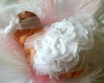 Decorative ball / hanging white baby girl/fimo/dress / gown baptism/gift godmother /baby shower/birth/fact hand/figurine/Christmas