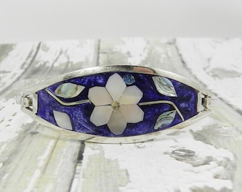 Vintage Bracelet Abalone Floral Flower Blueish Purple Background Mexico Mexican Side Hinge Sparklykreations