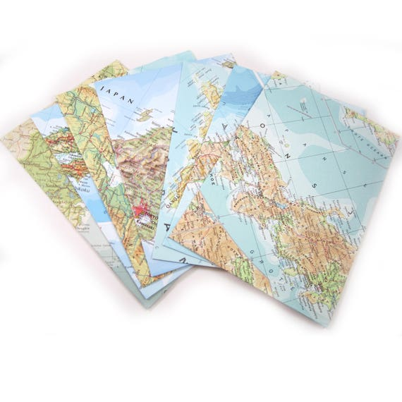 Set of 6 A6 custom sorted envelopes - Oceania, Asia, Australia variations