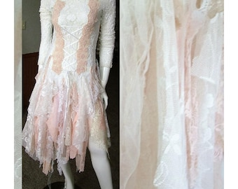 Fairy tale wedding dress romantic shabby tattered one of a kind. Size 5 - 8/9. in white dusky pink