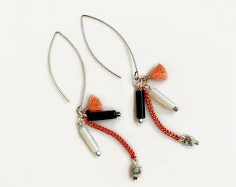 Opal and Onyx Dangle Earrings, Peach Tassel Drop Earrings, Gemstone Statement Earrings
