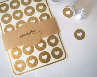 24 Heart Stickers in Antique Gold Glitter - Handmade Envelope Seals - Wedding invitations & favours - Scrapbooking - Candy Hershey Kiss
