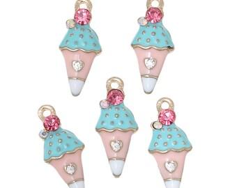 2pcs Sprinkled Ice Cream Cone Enamel Pendant - 23x10mm - Charm, Kawaii Charm, Food Charm, Sweets, Sprinkles, IIFYM, Ships from USA - O81