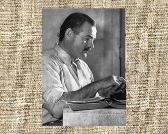 Ernest Hemingway photograph, Ernest Hemingway black and white photo print, Ernest Hemingway vintage photograph, legendary authors